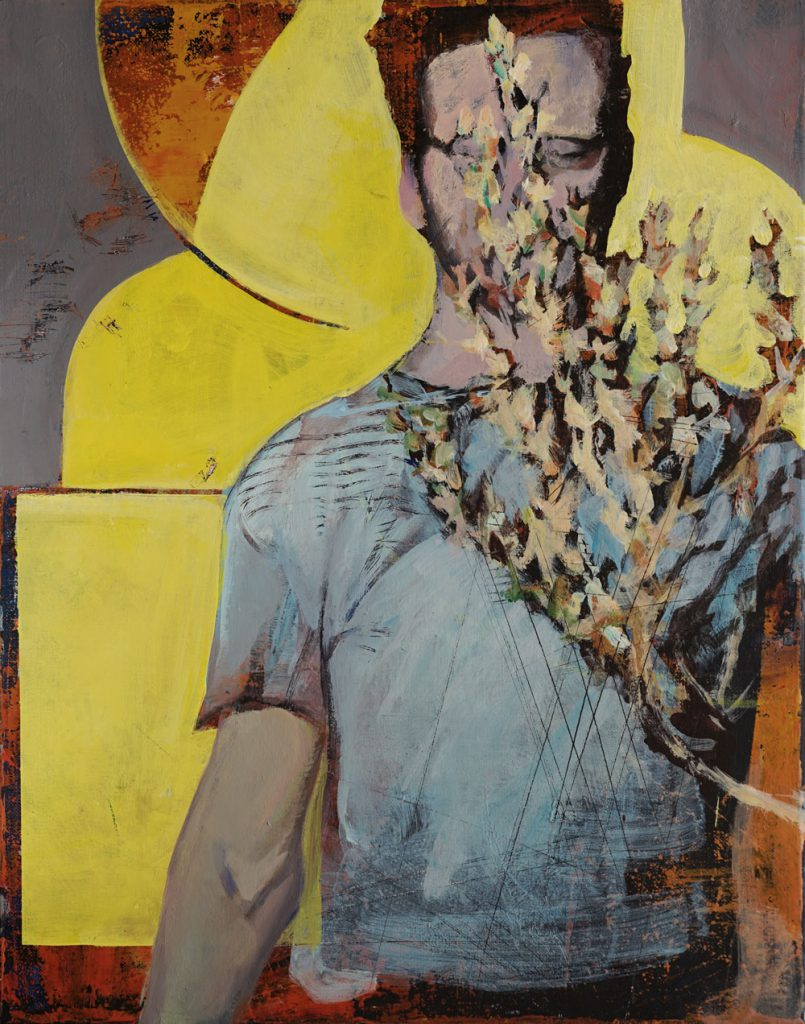 Soojie Kang - Man with yellow and grey - 40 x 50cm - acyrlic on canvas - 2019